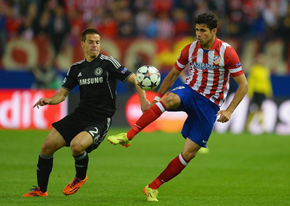 MADRID, SPAIN - APRIL 22:  Cesar Azpilicueta of Chelsea marshalls Diego Costa of Club Atletico de Madrid during the UEFA Champions League Semi Final first leg match between Club Atletico de Madrid and Chelsea at Vicente Calderon Stadium on April 22, 2014 in Madrid, Spain.  (Photo by Mike Hewitt/Getty Images)