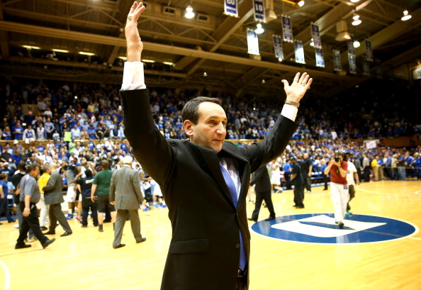 DURHAM, NC - MARCH 08:  Head coach Mike Krzyzewski of the Duke Blue Devils celebrates after defeating the North Carolina Tar Heels 93-81 at Cameron Indoor Stadium on March 8, 2014 in Durham, North Carolina.  (Photo by Streeter Lecka/Getty Images)