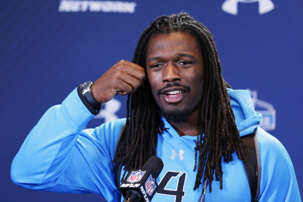 INDIANAPOLIS, IN - FEBRUARY 22: Former South Carolina defensive lineman Jadeveon Clowney speaks to the media during the 2014 NFL Combine at Lucas Oil Stadium on February 22, 2014 in Indianapolis, Indiana. (Photo by Joe Robbins/Getty Images)