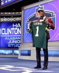May 8, 2014; New York, NY, USA; Ha Ha Clinton-Dix (Alabama) poses for photos after being selected as the number twenty-one overall pick in the first round of the 2014 NFL Draft to the Green Bay Packers at Radio City Music Hall. Mandatory Credit: Adam Hunger-USA TODAY Sports