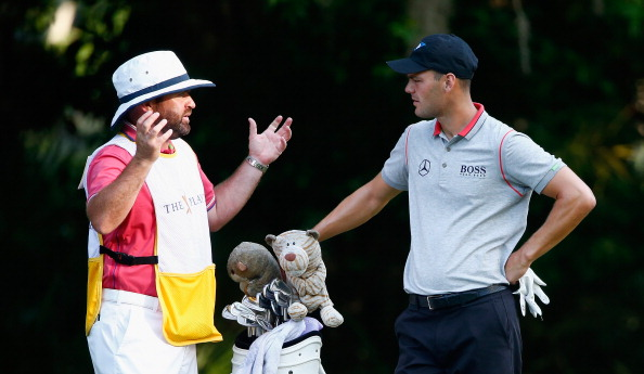 PONTE VEDRA BEACH, FL - MAY 09:  Martin Kaymer of Germany waits with his caddie Craig Connelly on the second holeduring the second round of THE PLAYERS Championship on The Stadium Course at TPC Sawgrass on May 9, 2014 in Ponte Vedra Beach, Florida.  (Photo by Sam Greenwood/Getty Images)