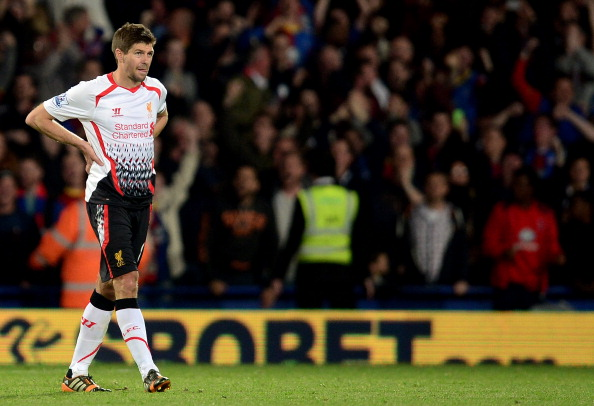 LONDON, ENGLAND - MAY 05:  A dejected Steven Gerrard of Liverpool reacts following his team's 3-3 draw during the Barclays Premier League match between Crystal Palace and Liverpool at Selhurst Park on May 5, 2014 in London, England.  (Photo by Jamie McDonald/Getty Images)