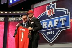 May 8, 2014; New York, NY, USA; Mike Evans (Texas A&M) poses with NFL commissioner Roger Goodell after being selected as the number seven overall pick in the first round of the 2014 NFL Draft to the Tampa Bay Buccaneers at Radio City Music Hall. Mandatory Credit: Adam Hunger-USA TODAY Sports