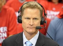 May 20, 2012; Los Angeles, CA, USA; TNT broadcaster Steve Kerr during game four of the Western Conference semifinals of the 2012 NBA Playoffs between the San Antonio Spurs and the Los Angeles Clippers at the Staples Center. Mandatory Credit: Kirby Lee/Image of Sport-USA TODAY Sports