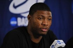 Mar 20, 2014; San Diego, CA, USA; Oklahoma State Cowboys player Marcus Smart is interviewed during practice before the second round of the 2014 NCAA Tournament at Viejas Arena. Mandatory Credit: Christopher Hanewinckel-USA TODAY Sports