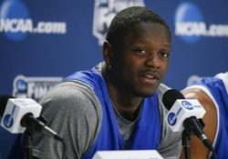 Apr 6, 2014; Arlington, TX, USA; Kentucky Wildcats forward Julius Randle speaks during a press conference during practice before the championship game of the Final Four in the 2014 NCAA Mens Division I Championship tournament at AT&T Stadium. Mandatory Credit: Kevin Jairaj-USA TODAY Sports