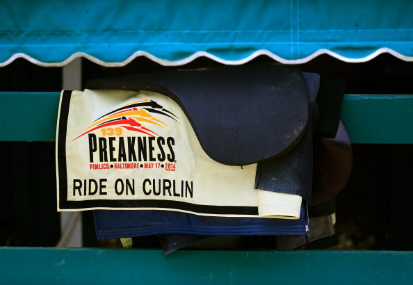 BALTIMORE, MD - MAY 13: The saddle blanket used by Ride On Curlin sits in the barn following a morning workout in preparation for the 139th Preakness Stakes at Pimlico Race Course on May 13, 2014 in Baltimore, Maryland.  (Photo by Rob Carr/Getty Images)