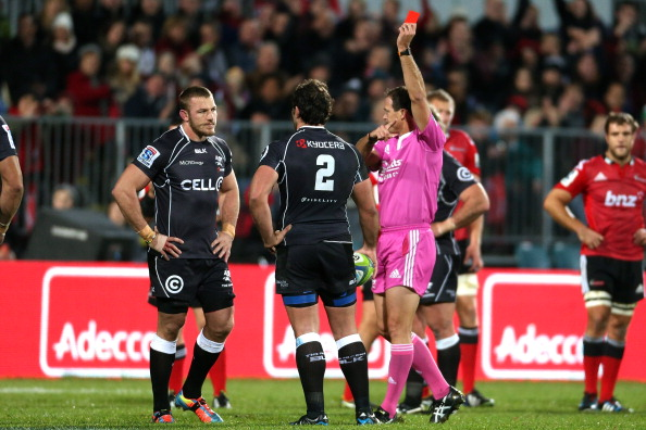 CHRISTCHURCH, NEW ZEALAND - MAY 17:  Jean Deysel (L) of the Sharks is red carded by referee Rohan Hoffmann during the round 14 Super Rugby match between the Crusaders and the Sharks at AMI Stadium on May 17, 2014 in Christchurch, New Zealand.  (Photo by Martin Hunter/Getty Images)