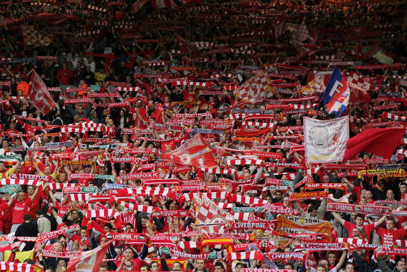 LIVERPOOL, ENGLAND - MAY 3:  Liverpool fans show their scalves in the Kop before the UEFA Champions League semi-final second leg match between Liverpool and Chelsea at Anfield on May 3, 2005 in Liverpool, England.  (Photo by Laurence Griffiths/Getty Images)