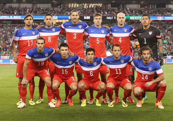 GLENDALE, AZ - APRIL 02:  Team USA; (Top L-R) Chris Wondolowski #17,  Clint Dempsey #8, Omar Gonzalez #3,  Matt Besler #5, Michael Bradley #4 and goalkeeper Nick Rimando #1 (Bottom L-R) Graham Zusi #19, Michael Parkhurst #15, Tony Beltran #6, Brad Davis #11 and Kyle Beckerman #14 pose for a group photo before the International Friendly against Meixco at University of Phoenix Stadium on April 2, 2014 in Glendale, Arizona.  (Photo by Christian Petersen/Getty Images)