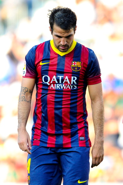 ELCHE, SPAIN - MAY 11:  Cesc Fabregas of FC Barcelona looks down during the La Liga match between Elche FC and FC Barcelona at Estadio Manuel Martinez Valero on May 11, 2014 in Elche, Spain.  (Photo by David Ramos/Getty Images)