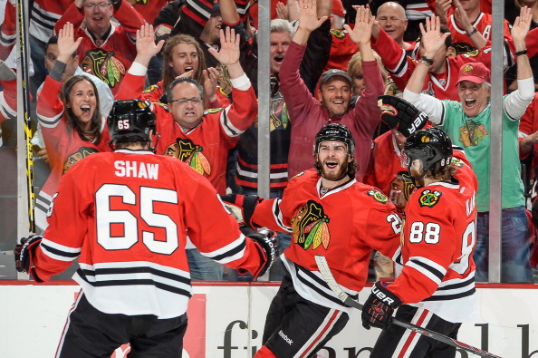 CHICAGO, IL - MAY 28: Brandon Saad #20 of the Chicago Blackhawks reacts after scoring against the Los Angeles Kings in the first period in Game Five of the Western Conference Final during the 2014 NHL Stanley Cup Playoffs at the United Center on May 28, 2014 in Chicago, Illinois. (Photo by Bill Smith/NHLI via Getty Images)