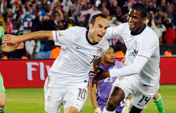 PRETORIA, SOUTH AFRICA - JUNE 23:  Landon Donovan of the United States celebrates with teammate Edson Buddle after scoring the winning goal that sends the USA through to the second round during the 2010 FIFA World Cup South Africa Group C match between USA and Algeria at the Loftus Versfeld Stadium on June 23, 2010 in Tshwane/Pretoria, South Africa. (Photo by Kevork Djansezian/Getty Images)