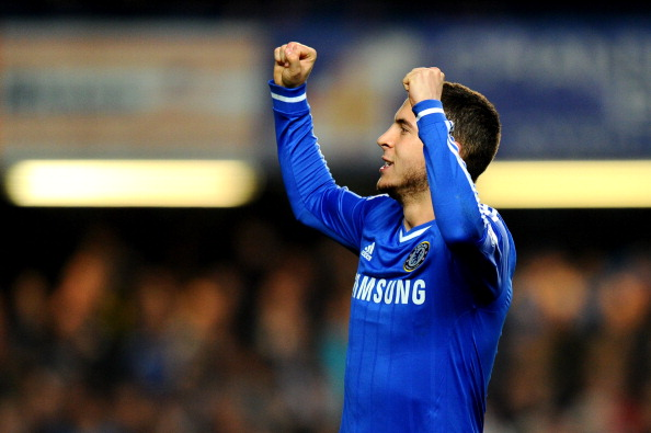LONDON, ENGLAND - MARCH 08:  Eden Hazard of Chelsea celebrates after scoring his team's second goal from the penalty spot during the Barclays Premier League match between Chelsea and Tottenham Hotspur at Stamford Bridge on March 8, 2014 in London, England.  (Photo by Mike Hewitt/Getty Images)