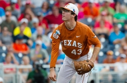 Jun 14, 2014; Omaha, NE, USA; Texas Longhorns pitcher John Curtiss (43) pitches in relief against the UC Irvine Anteaters during game one of the 2014 College World Series at TD Ameritrade Park Omaha. UC Irvine defeated Texas 3-1. Mandatory Credit: Steven Branscombe-USA TODAY Sports