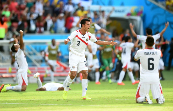 RECIFE, BRAZIL - JUNE 20:  Giancarlo Gonzalez of Costa Rica celebrates his team's 1-0 victory over Italy in the 2014 FIFA World Cup Brazil Group D match between Italy and Costa Rica at Arena Pernambuco on June 20, 2014 in Recife, Brazil.  (Photo by Laurence Griffiths/Getty Images)