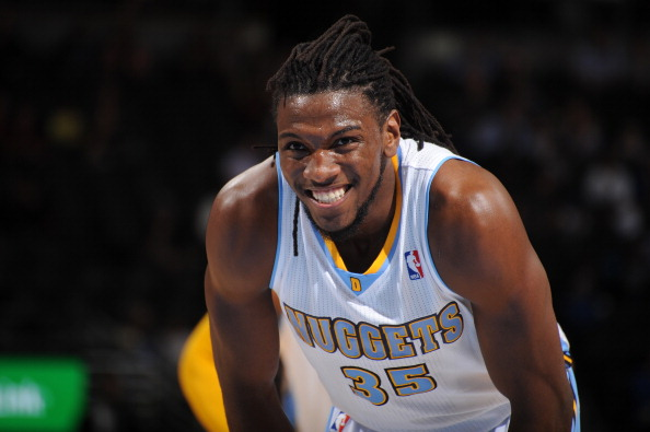 DENVER, CO - March 31: Kenneth Faried #35 of the Denver Nuggets looks on against the Memphis Grizzlies on March 31, 2014 at the Pepsi Center in Denver, Colorado. NOTE TO USER: User expressly acknowledges and agrees that, by downloading and/or using this Photograph, user is consenting to the terms and conditions of the Getty Images License Agreement. Mandatory Copyright Notice: Copyright 2014 NBAE (Photo by Bart Young/NBAE via Getty Images)