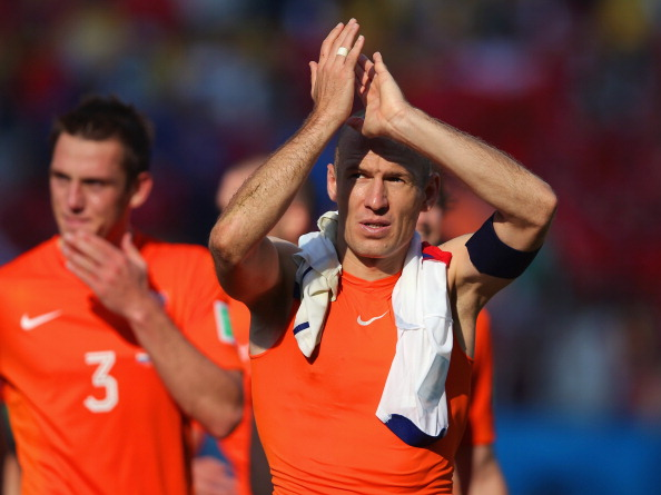 SAO PAULO, BRAZIL - JUNE 23:  Arjen Robben of the Netherlands acknowledges the fans after a 2-0 victory over Chile in the 2014 FIFA World Cup Brazil Group B match between the Netherlands and Chile at Arena de Sao Paulo on June 23, 2014 in Sao Paulo, Brazil.  (Photo by Dean Mouhtaropoulos/Getty Images)