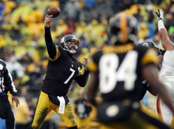 Dec 29, 2013; Pittsburgh, PA, USA; Pittsburgh Steelers quarterback Ben Roethlisberger (7) throws a pass against the Cleveland Browns in the second half at Heinz Field. The Steelers won the game, 20-7. Mandatory Credit: Jason Bridge-USA TODAY Sports