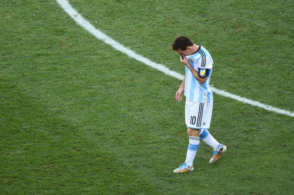 SAO PAULO, BRAZIL - JULY 01:  Lionel Messi of Argentina reacts during the 2014 FIFA World Cup Brazil Round of 16 match between Argentina and Switzerland at Arena de Sao Paulo on July 1, 2014 in Sao Paulo, Brazil.  (Photo by Matthias Hangst/Getty Images)