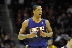 Jan 26, 2014; Cleveland, OH, USA; Phoenix Suns power forward Channing Frye (8) celebrates in the fourth quarter against the Cleveland Cavaliers at Quicken Loans Arena. Mandatory Credit: David Richard-USA TODAY Sports