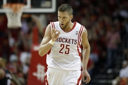 Apr 30, 2014; Houston, TX, USA; Houston Rockets forward Chandler Parsons (25) reacts to making a three-pointer during the third quarter against the Portland Trail Blazers in game five of the first round of the 2014 NBA Playoffs at Toyota Center. Mandatory Credit: Andrew Richardson-USA TODAY Sports