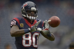 Nov 24, 2013; Houston, TX, USA; Houston Texans wide receiver Andre Johnson (80) warms up against the Jacksonville Jaguars before the game at Reliant Stadium. Mandatory Credit: Thomas Campbell-USA TODAY Sports