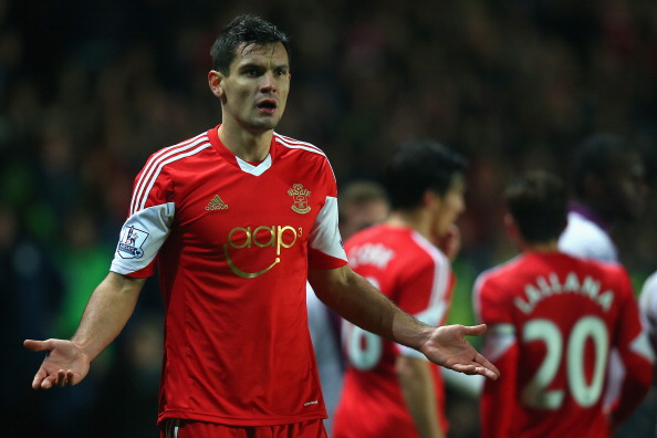 SOUTHAMPTON, ENGLAND - DECEMBER 04:  Dejan Lovren of Southampton protests during the Barclays Premier League match between Southampton and Aston Villa at St Mary's Stadium on December 4, 2013 in Southampton, England.  (Photo by Bryn Lennon/Getty Images)