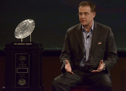 Dec 31, 2013; Anaheim, CA, USA; Auburn Tigers coach Gus Malzahn with the Coaches Trophy at a press conference for the 2014 BCS National Championship at ESPN Zone Downtown Disney. Mandatory Credit: Kirby Lee-USA TODAY Sports
