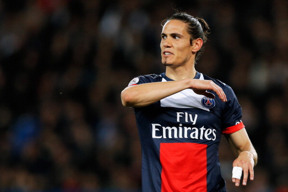 PARIS, FRANCE - MAY 07:  Edinson Cavani of PSG reacts to a missed chance on goal during the Ligue 1 match between Paris Saint-Germain FC and Stade Rennais FC at Parc des Princes on May 7, 2014 in Paris, France.  (Photo by Dean Mouhtaropoulos/Getty Images)