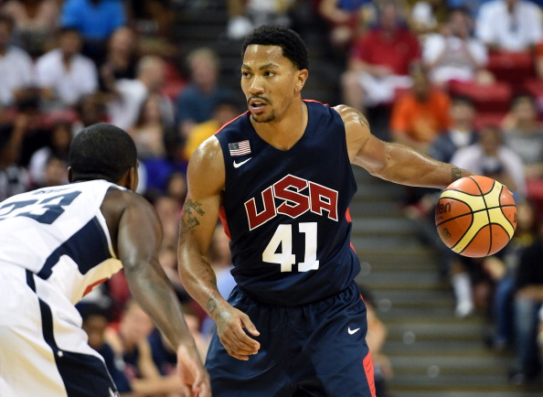 LAS VEGAS, NV - AUGUST 01:  Derrick Rose #41 of the 2014 USA Basketball Men's National Team brings the ball up the court during a USA Basketball showcase at the Thomas & Mack Center on August 1, 2014 in Las Vegas, Nevada.  (Photo by Ethan Miller/Getty Images)