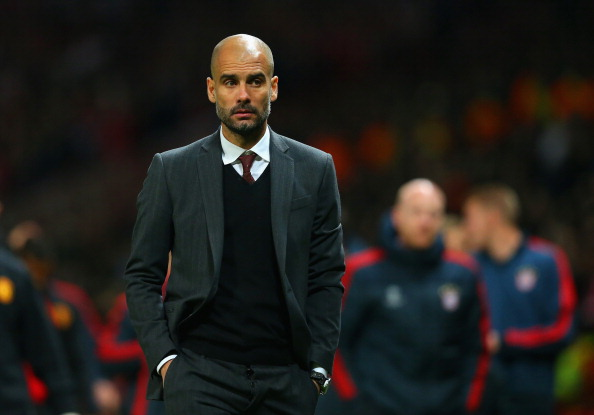 MANCHESTER, ENGLAND - APRIL 01:  Pep Guardiola head coach of Bayern Muenchen at the end of match during the UEFA Champions League Quarter Final first leg match between Manchester United and FC Bayern Muenchen at Old Trafford on April 1, 2014 in Manchester, England.  (Photo by Alex Livesey/Getty Images)