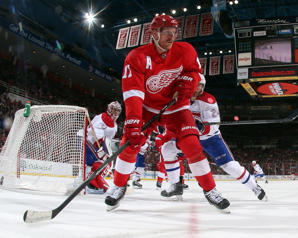 DETROIT, MI - MARCH 27: Daniel Alfredsson #11 of the Detroit Red Wings follows the play against the Montreal Canadiens during an NHL game on March 27, 2014 at Joe Louis Arena in Detroit, Michigan. Montreal defeated Detroit 5-4 (Photo by Dave Reginek/NHLI via Getty Images)