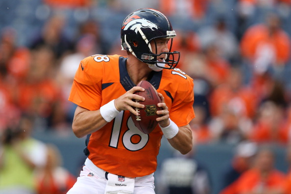 DENVER, CO - AUGUST 07:  Quarterback Peyton Manning #18 of the Denver Broncos drops back to pass against the Seattle Seahawks during preseason action at Sports Authority Field at Mile High on August 7, 2014 in Denver, Colorado.  (Photo by Doug Pensinger/Getty Images)