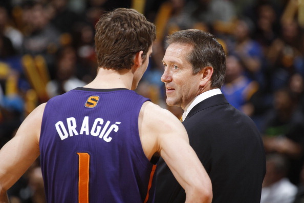 OAKLAND, CA - MARCH 9: Head coach Jeff Hornacek talks to Goran Dragic #1 of the Phoenix Suns while facing the Golden State Warriors on March 9, 2014 at Oracle Arena in Oakland, California. NOTE TO USER: User expressly acknowledges and agrees that, by downloading and or using this photograph, user is consenting to the terms and conditions of Getty Images License Agreement. Mandatory Copyright Notice: Copyright 2014 NBAE (Photo by Rocky Widner/NBAE via Getty Images)