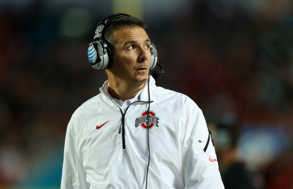 MIAMI GARDENS, FL - JANUARY 03:  Head coach Urban Meyer of the Ohio State Buckeyes looks on from the sideline in the first half against the Clemson Tigers during the Discover Orange Bowl at Sun Life Stadium on January 3, 2014 in Miami Gardens, Florida.  (Photo by Mike Ehrmann/Getty Images)