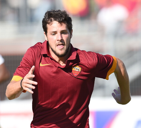 RIETI, ITALY - JULY 18:  Mattia Destro of Roma in action during the friendly match between AS Roma and Indonesia U23 at Stadio Centro d'Italia - Manlio Scopigno on July 18, 2014 in Rieti, Italy.  (Photo by Giuseppe Bellini/Getty Images)