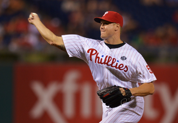 PHILADELPHIA, PA - AUGUST 26: Jonathan Papelbon #58 of the Philadelphia Phillies delivers a pitch in the ninth inning against the Washington Nationals at Citizens Bank Park on August 26, 2014 in Philadelphia, Pennsylvania. The Phillies won 4-3. (Photo by Drew Hallowell/Getty Images)