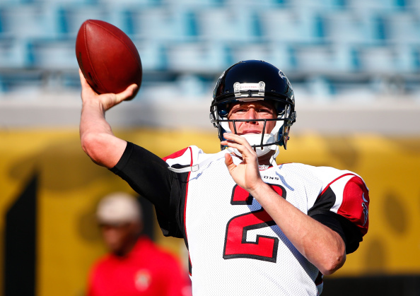 JACKSONVILLE, FL - AUGUST 28:  Matt Ryan #2 of the Atlanta Falcons warms up before the preseason NFL game against the Jacksonville Jaguars at EverBank Field on August 28, 2014 in Jacksonville, Florida.  (Photo by Sam Greenwood/Getty Images)