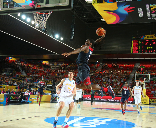 BILBAO, SPAIN - SEPTEMBER 4:  Kenneth Faried #7 of the USA Basketball Men's National Team goes up to dunk during a game against the Ukraine Basketball Men's National Team during the 2014 FIBA World Cup at Bizkaia Arena in Bilbao Exhibition Centre on September 4, 2014 in Bilbao, Spain.  NOTE TO USER: User expressly acknowledges and agrees that, by downloading and/or using this Photograph, user is consenting to the terms and conditions of the Getty Images License Agreement. Mandatory Copyright Notice: Copyright 2014 NBAE (Photo by Nathaniel S. Butler/NBAE via Getty Images)