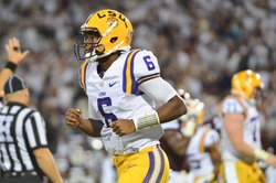 Sep 12, 2015; Starkville, MS, USA; LSU Tigers quarterback Brandon Harris (6) during the game against the Mississippi State Bulldogs at Davis Wade Stadium. LSU defeated Mississippi State 21-19. Mandatory Credit: Matt Bush-USA TODAY Sports