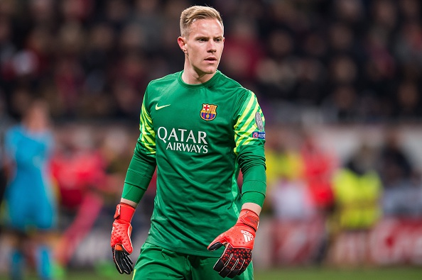 goalkeeper Marc-Andre Ter Stegen of FC Barcelona during the UEFA Champions League match between Bayer 04 Leverkusen and FC Barcelona on December 9, 2015 at the BayArena in Leverkusen, Germany.(Photo by VI Images via Getty Images)