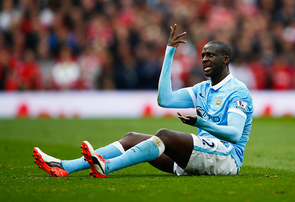 MANCHESTER, ENGLAND - OCTOBER 25: Yaya Toure of Manchester City reacts during the Barclays Premier League match between Manchester United and Manchester City at Old Trafford on October 25, 2015 in Manchester, England.  (Photo by Clive Rose/Getty Images)