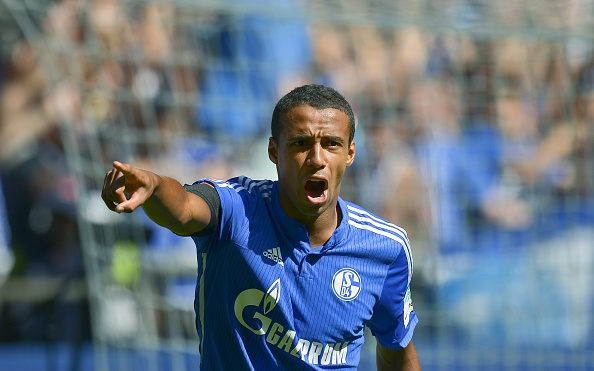 Schalke's Cameroonian defender Joel Matip reacts during the German first division Bundesliga football match FC Schalke 04 v SV Darmstadt 98, on August 22, 2015 in Gelsenkirchen.   AFP PHOTO / SASCHA SCHUERMANN RESTRICTIONS: DURING MATCH TIME: DFL RULES TO LIMIT THE ONLINE USAGE TO 15 PICTURES PER MATCH AND FORBID IMAGE SEQUENCES TO SIMULATE VIDEO.  == RESTRICTED TO EDITORIAL USE == FOR FURTHER QUERIES PLEASE CONTACT DFL DIRECTLY AT + 49 69 650050.        (Photo credit should read SASCHA SCHUERMANN/AFP/Getty Images)