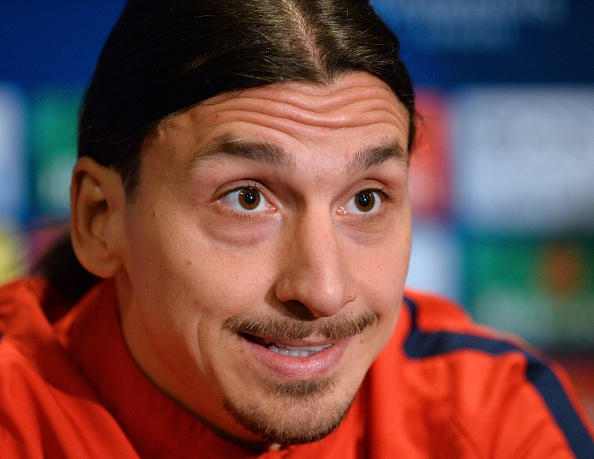 Paris Saint-Germain's Swedish striker Zlatan Ibrahimovic smiles during a press conference at Stamford Bridge in London on March 8, 2016 ahead of their UEFA Champions League, round of 16 second leg football match against Chelsea.    / AFP / GLYN KIRK        (Photo credit should read GLYN KIRK/AFP/Getty Images)