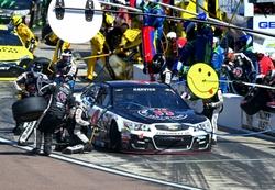 Mar 13, 2016; Avondale, AZ, USA; NASCAR Sprint Cup Series driver Kevin Harvick pits during the Good Sam 500 at Phoenix International Raceway. Mandatory Credit: Mark J. Rebilas-USA TODAY Sports