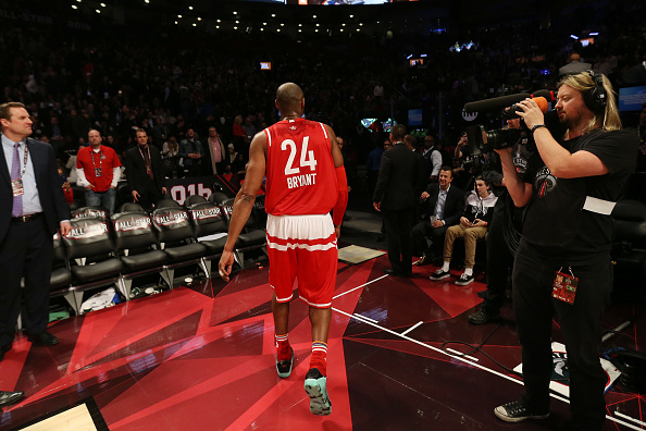 TORONTO, CANADA - FEBRUARY 14: Kobe Bryant #24 of the Western Conference after the 2016 NBA All-Star Game on February 14, 2016 at the Air Canada Centre in Toronto, Ontario, Canada.  NOTE TO USER: User expressly acknowledges and agrees that, by downloading and or using this Photograph, user is consenting to the terms and conditions of the Getty Images License Agreement.  Mandatory Copyright Notice: Copyright 2016 NBAE  (Photo by Dave Sandford/NBAE via Getty Images)