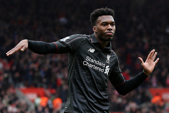 Liverpool's English striker Daniel Sturridge dances as he celebrates scoring his team's second goal during the English Premier League football match between Southampton and Liverpool at St Mary's Stadium in Southampton, southern England on March 20, 2016. / AFP / ADRIAN DENNIS / RESTRICTED TO EDITORIAL USE. No use with unauthorized audio, video, data, fixture lists, club/league logos or 'live' services. Online in-match use limited to 75 images, no video emulation. No use in betting, games or single club/league/player publications.  /         (Photo credit should read ADRIAN DENNIS/AFP/Getty Images)
