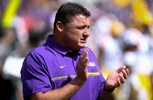 GREEN BAY, WI - SEPTEMBER 3:  Defensive line coach Ed Orgeron goes through warm ups before the game against the Wisconsin Badgers at Lambeau Field on September 3, 2016 in Green Bay, Wisconsin. (Photo by Dylan Buell/Getty Images)