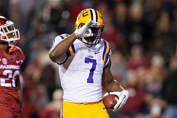 FAYETTEVILLE, AR - NOVEMBER 12:  Leonard Fournette #7 of the LSU Tigers celebrates after scoring a touchdown during a game against the Arkansas Razorbacks at Razorback Stadium on November 12, 2016 in Fayetteville, Arkansas.  The Tigers defeated the Razorbacks 38-10.  (Photo by Wesley Hitt/Getty Images)
